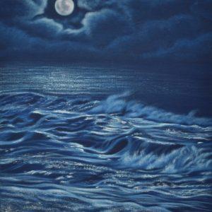 Magia Nocturna de la luna y el mar Painting