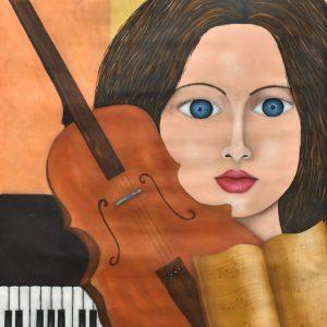 Mujer combinada con instrumentos musicales painting