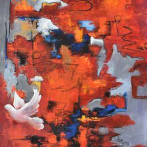 Paz en el fuego painting
