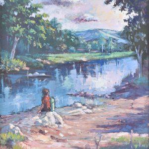 Meditando en el Río painting