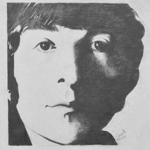 John Lennon blanco y negro painting