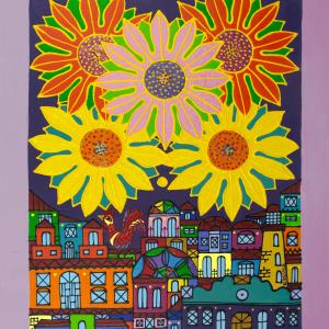 Girasoles y Ciudad painting