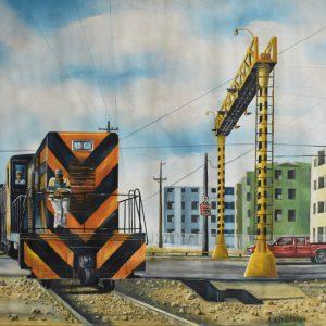 Tren cruzando la Padre Abreu painting