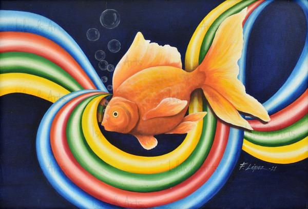 Gold Fish en movimiento painting